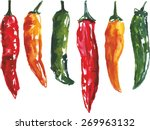 A Set Of Six Watercolour Chili...