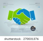 handshake with world map on the ... | Shutterstock .eps vector #270031376