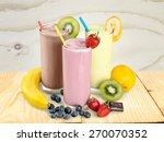 milk  banana  drink. | Shutterstock . vector #270070352