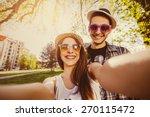 selfie with smartphone  happy...   Shutterstock . vector #270115472