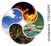 Small photo of A quadruple yin yang symbol with the four elements of nature: fire, water, earth, air.