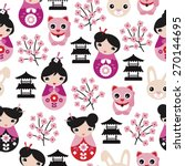 seamless adorable japanese... | Shutterstock .eps vector #270144695