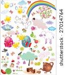 huge set of cute easter elements | Shutterstock .eps vector #27014764