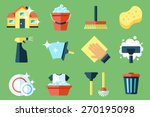 vector set of cleaning tools.... | Shutterstock .eps vector #270195098