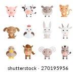farm animals vector set on... | Shutterstock .eps vector #270195956