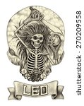 skull art zodiac leo .hand... | Shutterstock . vector #270209558