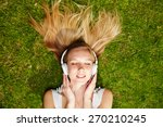 girl listening to music... | Shutterstock . vector #270210245