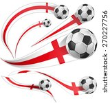 England  Flag Set With Soccer...