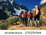team trekking in cordiliera... | Shutterstock . vector #270259346
