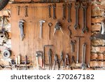 Old Vintage Tools Hanging On A...