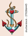 sea anchor. color tattoo in... | Shutterstock .eps vector #270286445