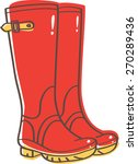 red wellington boots  | Shutterstock .eps vector #270289436