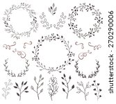hand drawn vector floral... | Shutterstock .eps vector #270290006
