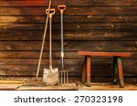 Old Wooden Bench Garden Tools...