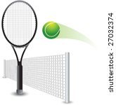 tennis ball hitting racket | Shutterstock .eps vector #27032374