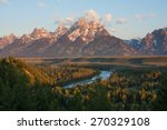 Grand Tetons peak at sunrise with snake river overlook in Wyoming, US
