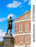 Small photo of Boston Samuel Adams monument near Faneuil Hall in Massachusetts USA