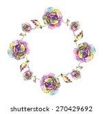 watercolor roses garland. | Shutterstock . vector #270429692