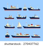 Ships Set. Silhouettes Of...