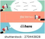 hand holding megaphone with... | Shutterstock .eps vector #270443828