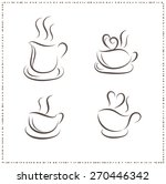coffee cup with line drawing... | Shutterstock .eps vector #270446342