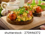 scrambled eggs on toasted bread ... | Shutterstock . vector #270446372
