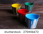 Metal Buckets With Colorful...
