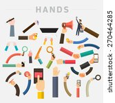 Vector Set Hands. Mix Hand Hol...