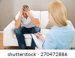 depressed patient sitting on