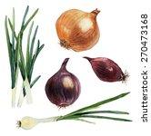 watercolor set of vegetables.... | Shutterstock .eps vector #270473168