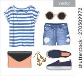 lady fashion set of summer... | Shutterstock .eps vector #270509972