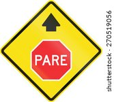 chilean road warning sign  stop ... | Shutterstock . vector #270519056