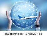 airplane on hand with world map ... | Shutterstock . vector #270527468