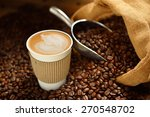 paper cup of coffee latte and... | Shutterstock . vector #270548702