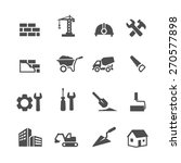 construction icons set on white ...