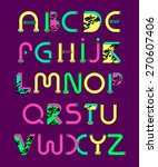 abc.bright psychedelic font | Shutterstock .eps vector #270607406