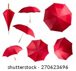 Red Umbrellas On White