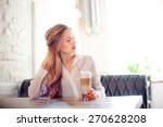 drinking latte. young beautiful ... | Shutterstock . vector #270628208