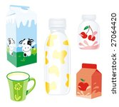 isolated dairy products | Shutterstock .eps vector #27064420