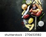 potato preparation. fresh... | Shutterstock . vector #270653582