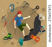 climber in helmet rises on a... | Shutterstock .eps vector #270657872