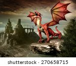 Fantasy Scenery With Red Drago...