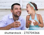 cute little girl with her... | Shutterstock . vector #270704366