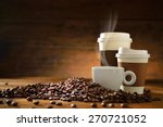 cups of coffee with smoke and... | Shutterstock . vector #270721052
