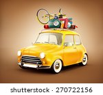 retro car with luggage. unusual ... | Shutterstock . vector #270722156