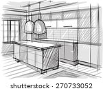 Architectural Sketch Of Kitchen.