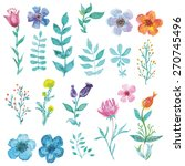watercolor decorative floral... | Shutterstock .eps vector #270745496