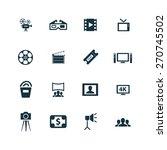 cinema icons set on white... | Shutterstock . vector #270745502