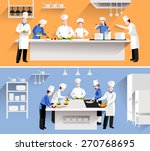 cooking process with chef... | Shutterstock .eps vector #270768695