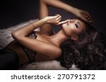 beautiful sensual brunette... | Shutterstock . vector #270791372